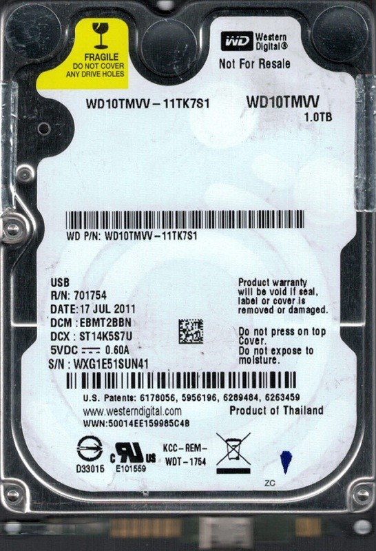 Western Digital WD10TMVV-11TK7S1 USB 2.0 1TB DCM: EBMT2BBN