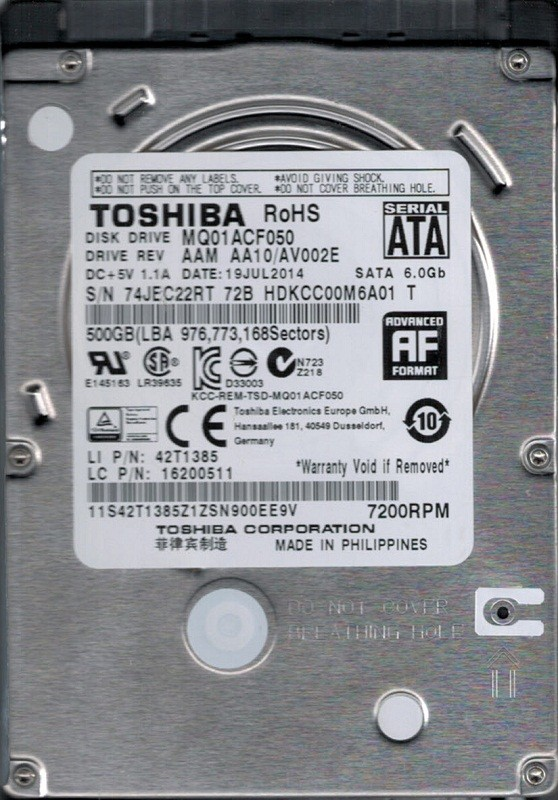 MQ01ACF050 AAM AA10/AV002E Toshiba 500GB Laptop Hard Drive