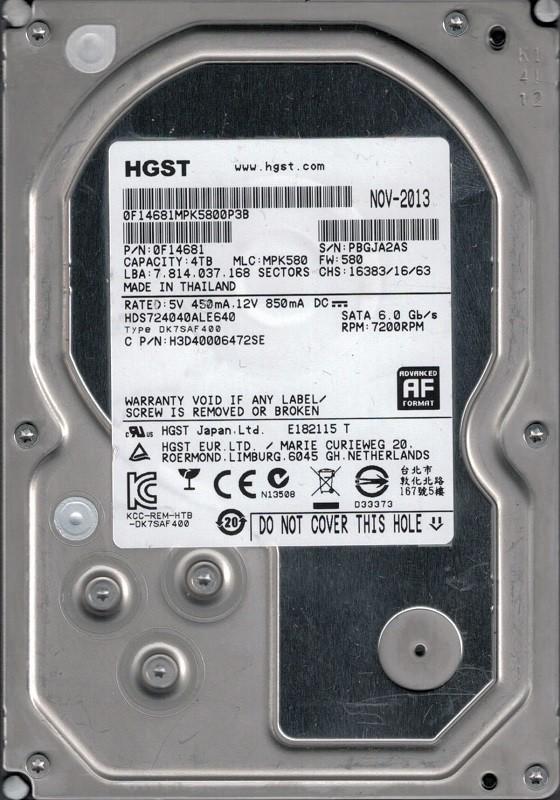 HDS724040ALE640 P/N: 0F14681 MLC: MPK580 HGST 4TB