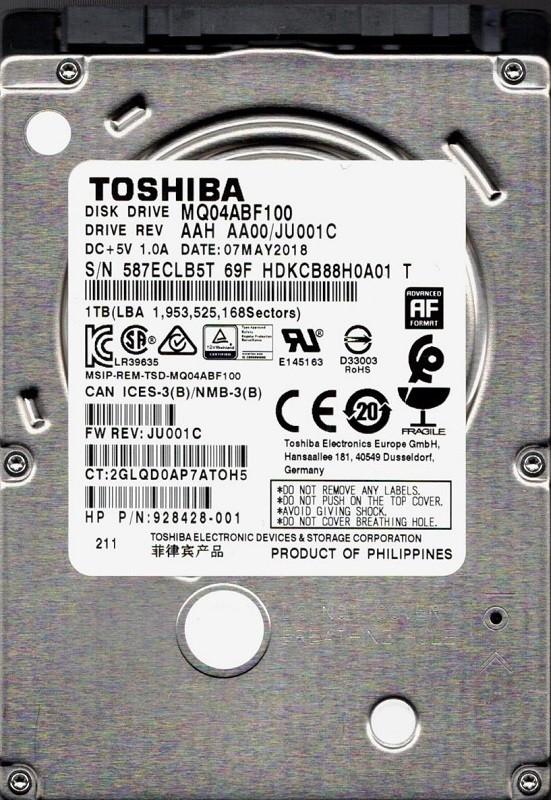 MQ04ABF100 AAH AA00/JU001C Toshiba 1TB