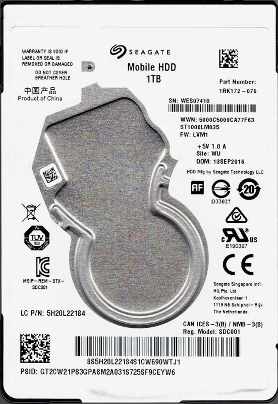 ST1000LM035 P/N: 1RK172-070 F/W: LVM1 WU WES Seagate 1TB Mobile HDD