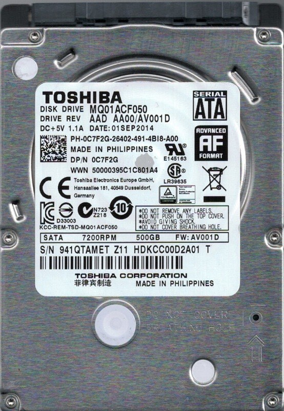MQ01ACF050 AAD AA00/AV001D Toshiba Philippines 500GB Hard Drive