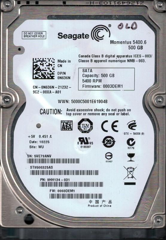 Seagate ST9500325AS P/N: 9HH134-031 F/W: 0003DEM1 WU 5VE 500GB