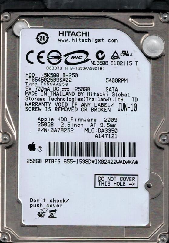 Hitachi HTS545025B9SA02 P/N: 0A78252 MLC: DA3350 250GB MAC 655-1538D