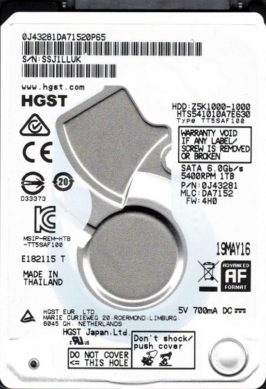HTS541010A7E630 P/N: 0J43281 MLC: DA7152 HGST 1TB