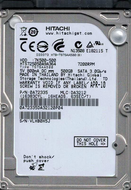 Hitachi HTS725050A9A364 P/N: 0A72335 MLC: DA3212 500GB