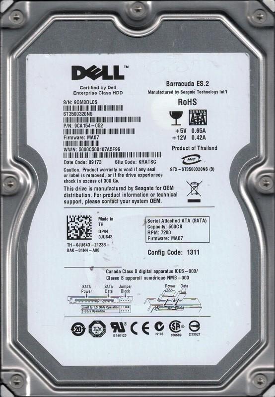 Seagate ST3500320NS P/N: 9CA154-052 F/W: MA07 500GB KRATSG Dell