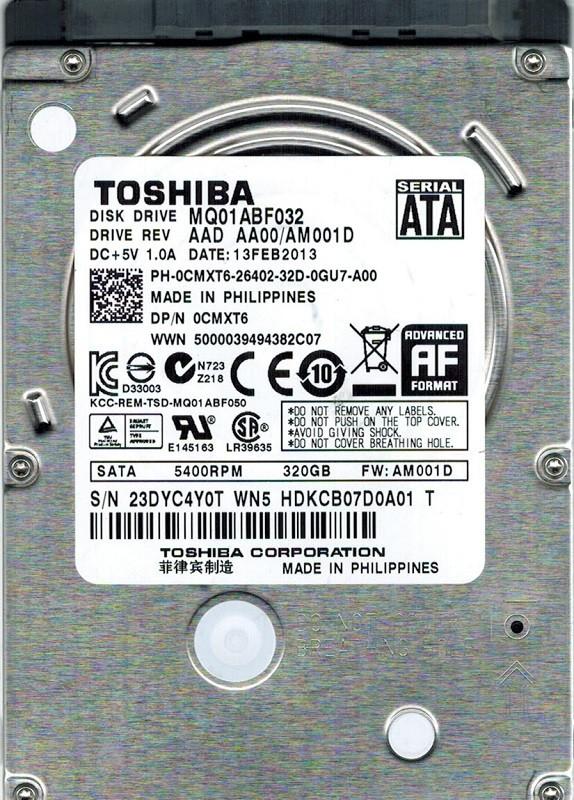 Toshiba MQ01ABF032 AAD AA00/AM001D 320GB F/W: AM001D Philippines