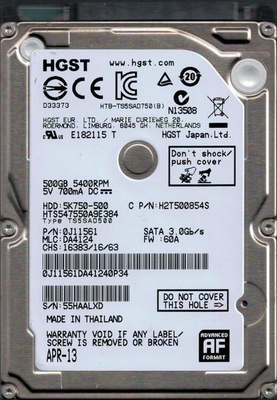 Hitachi HTS547550A9E384 P/N: 0J11561 MLC: DA4124 500GB