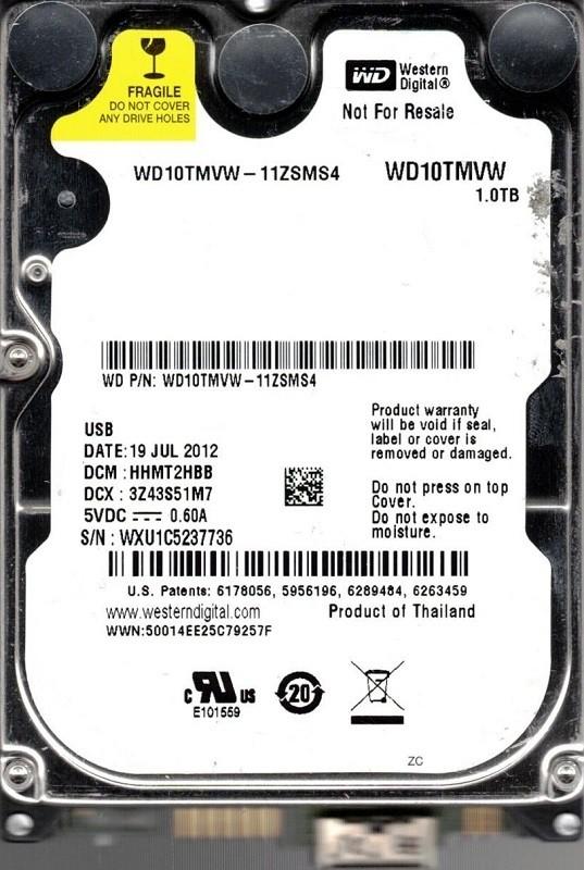 Western Digital WD10TMVW-11ZSMS4 DCM: HHMT2HBB WXU1C USB 3.0 1TB