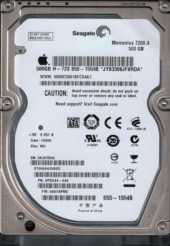 ST9500420ASG P/N: 9PSG44-040 F/W: 0007APM2 WU 5VJ MAC 655-1554B Seagate 500GB