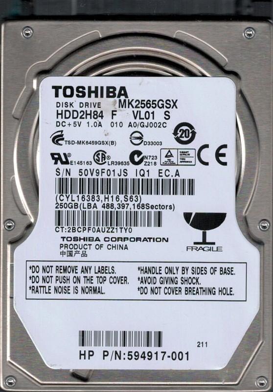 MK2565GSX HDD2H84 F VL01 S F/W: A0/GJ002C Toshiba 250GB