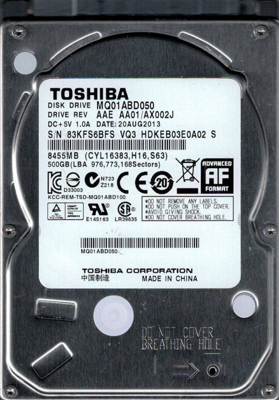 MQ01ABD050 AAE AA01/AX002J China Toshiba 500GB