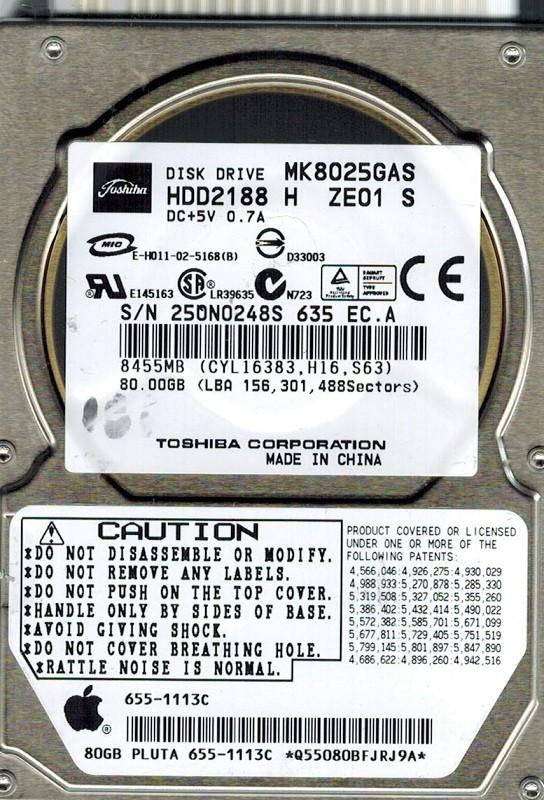 Toshiba MK8025GAS 80GB IDE HDD2188 H ZE01 S MAC CHINA
