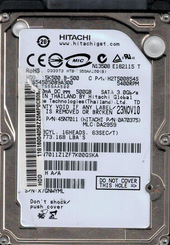 Hitachi HTS545050B9A300 P/N: 0A70375 MLC: DA2959 500GB
