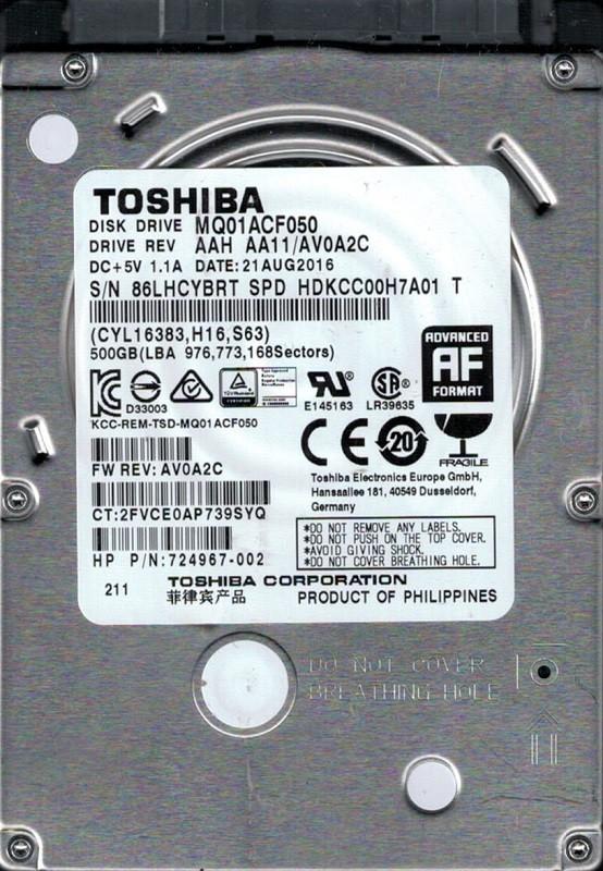 MQ01ACF050 AAH AA11/AV0A2C Philippines Toshiba 500GB