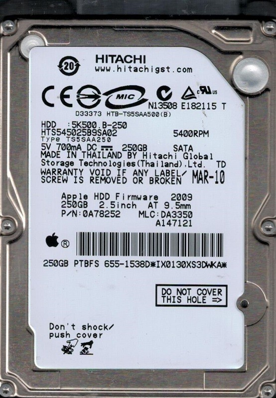 HTS545025B9SA02 P/N: 0A78252 MLC: DA3350 Apple 655-1538D Hitachi 250GB