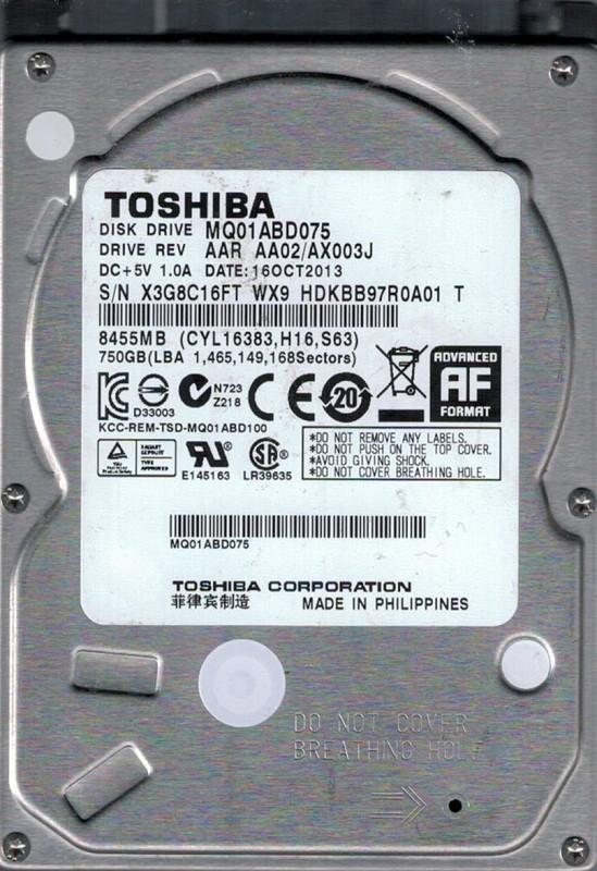MQ01ABD075 AAR AA02/AX003J Toshiba 750GB
