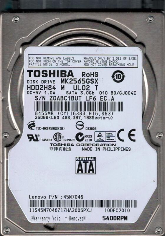 MK2565GSX HDD2H84 M UL02 T F/W: B0/GJ004E Toshiba 250GB