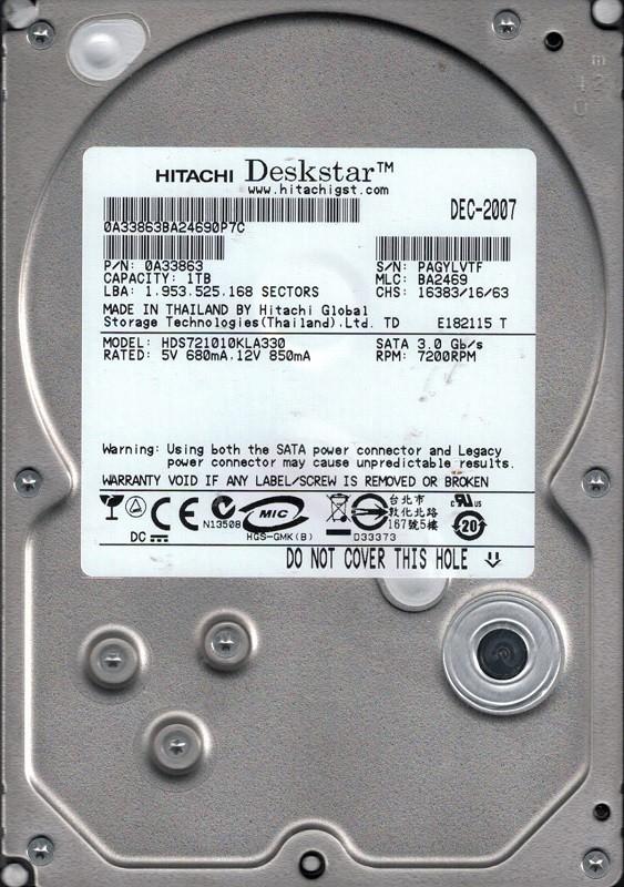 Hitachi HDS721010KLA330 P/N: 0A33863 MLC: BA2469 1TB