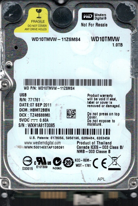 Western Digital WD10TMVW-11ZSMS4 USB 3.0 1TB DCM: HBMT2BBN WXH1A