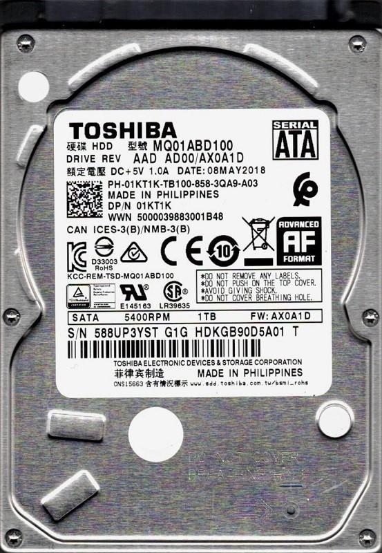 MQ01ABD100 AAD AD00/AX0A1D Toshiba 1TB
