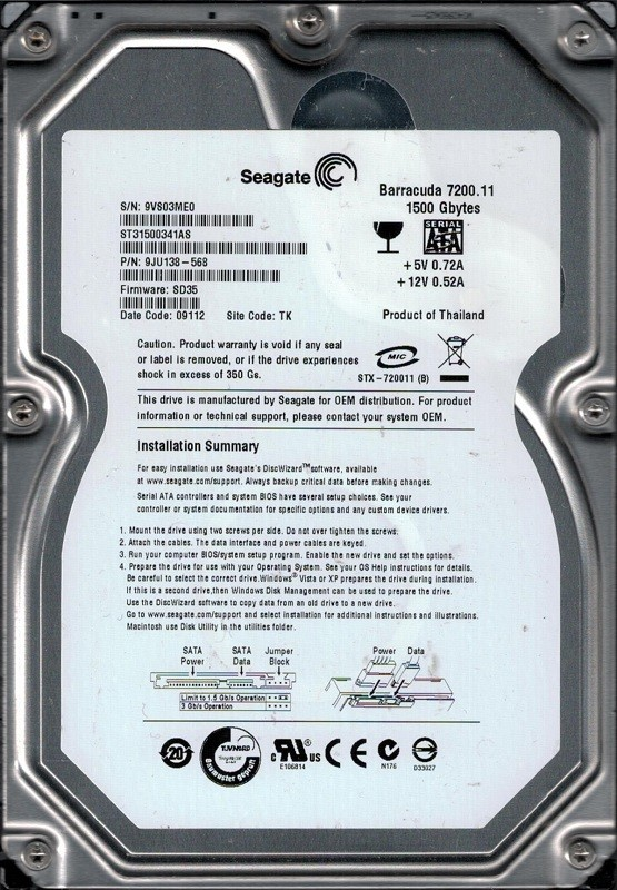 Seagate ST31500341AS P/N: 9JU138-568 1.5TB F/W: SD35 TK 9VS