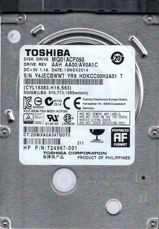 Toshiba MQ01ACF050 AAH AA00/AV0A1C 500GB