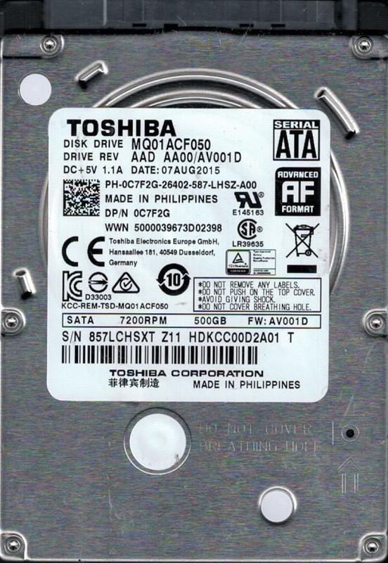 MQ01ACF050 AAD AA00/AV001D Toshiba 500GB Laptop Hard Drive
