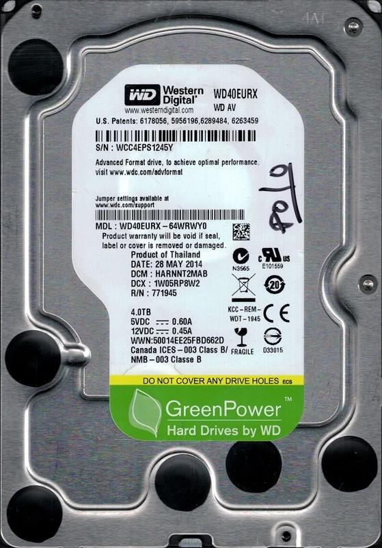 WD40EURX-64WRWY0 Western Digital 4TB DCM: HARNNT2MAB