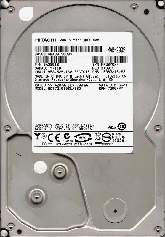 HDT721010SLA360 P/N: 0A38016 MLC BA3013 China Hitachi 1TB