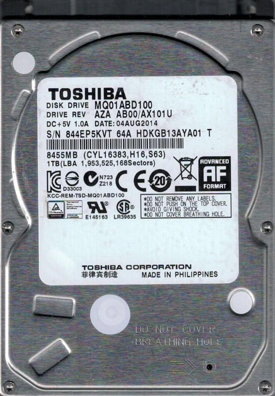 MQ01ABD100 AZA AB00/AX101U Philippines Toshiba 1TB