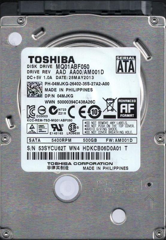 Toshiba MQ01ABF050 500GB AAD AA00/AM001D Phillipines