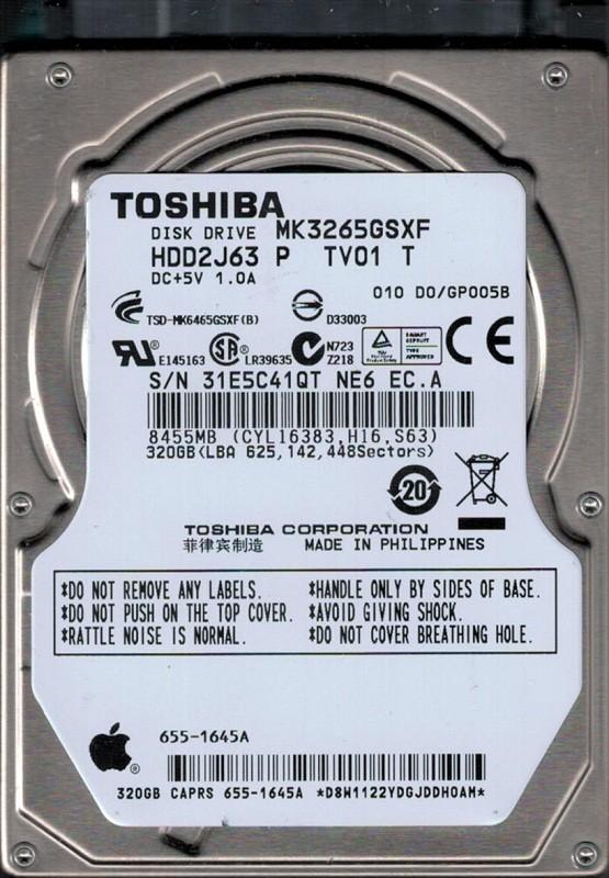 Toshiba MK3265GSXF HDD2J63 P TV01 T MAC 655-1645A 320GB
