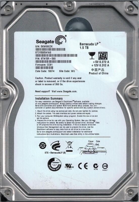 Seagate ST31500541AS P/N: 9TN15R-568 1.5TB F/W: CC91 WU