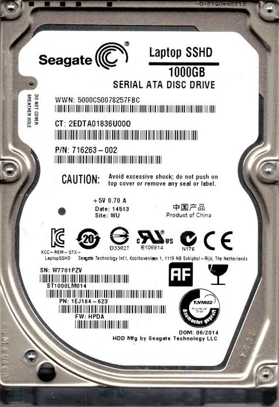 ST1000LM014 P/N: 1EJ164-623 F/W: HPDA WU W77 Seagate SSHD 1TB