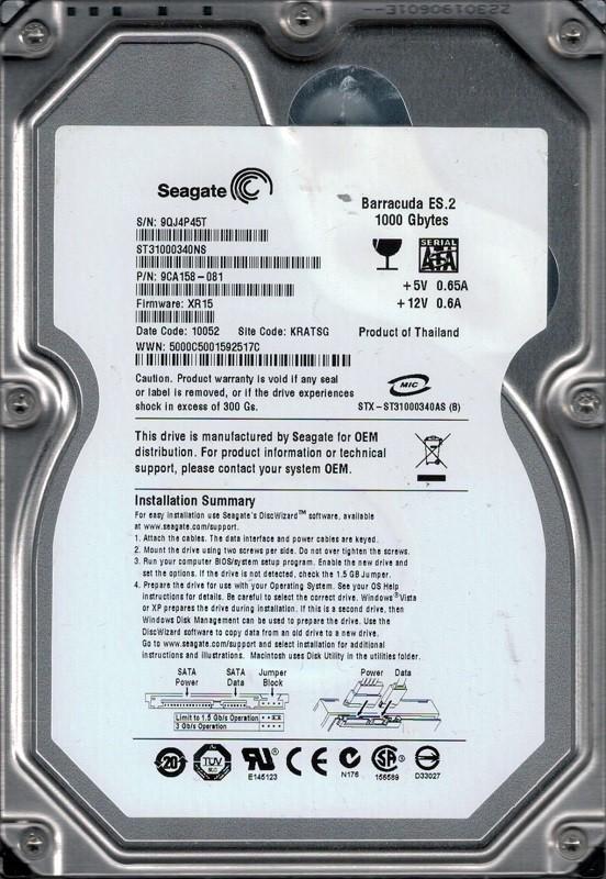 Seagate ST31000340NS P/N: 9CA158-081 F/W: XR15 1TB KRATSG 9QJ