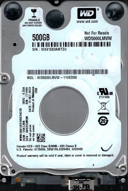 WD5000LMVW-11VEDS0 DCM: EVKTJVN WXK1E Western Digital 500GB