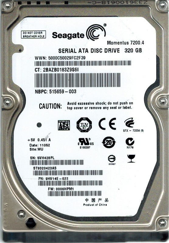 Seagate ST9320423AS P/N:  9HV14E-022 F/W: 0006HPM1 320GB WU