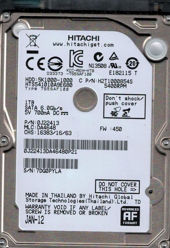 HTS541010A9E680 P/N: 0J22413 MLC: DA4648 Hitachi 1TB