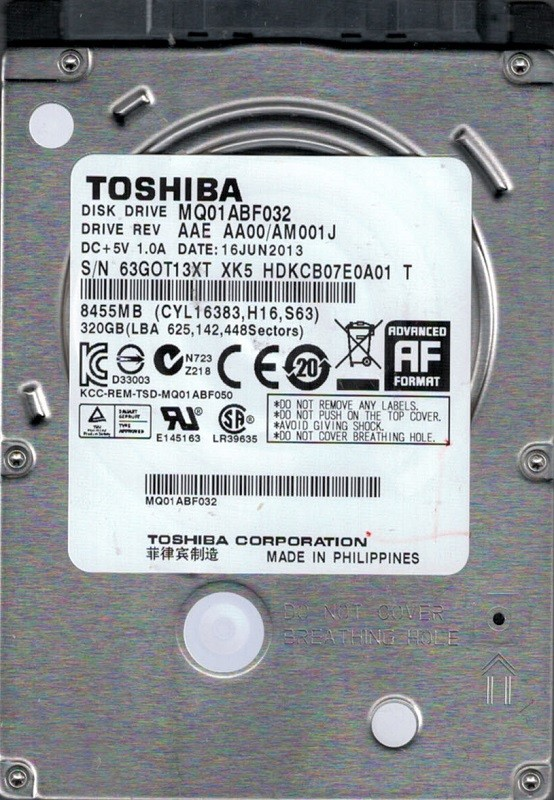 MQ01ABF032 AAE AA00/AM001J PHILIPPINES Toshiba 320GB