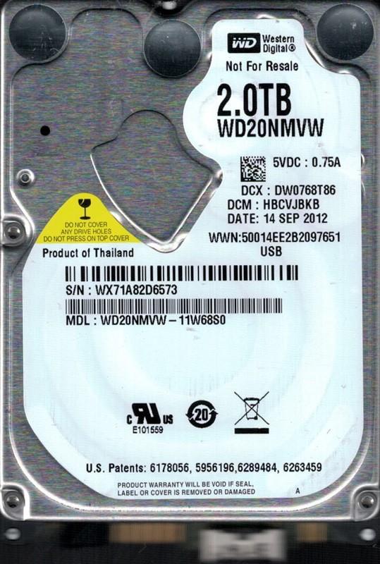 Western Digital WD20NMVW-11W68S0 USB 3.0 2TB DCM: HBCVJBKB WX71A