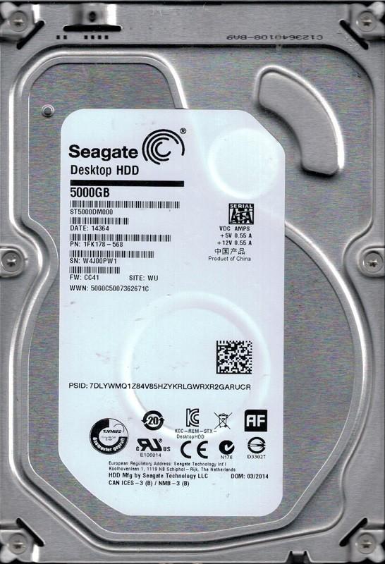 Seagate ST5000DM000 P/N: 1FK178-568 F/W: CC41 WU W4J 5TB