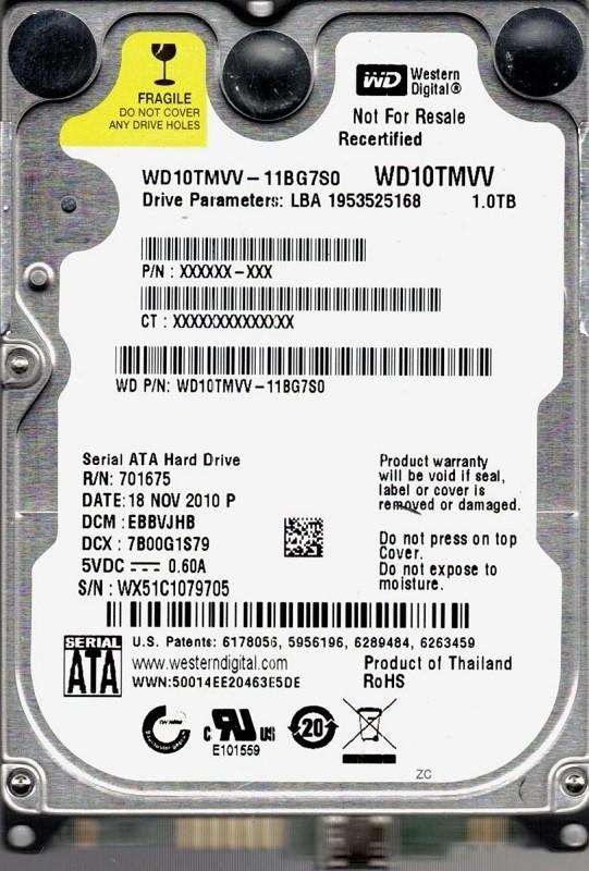 Western Digital WD10TMVV-11BG7S0 1TB USB 2.0 DCM: EBBVJHB