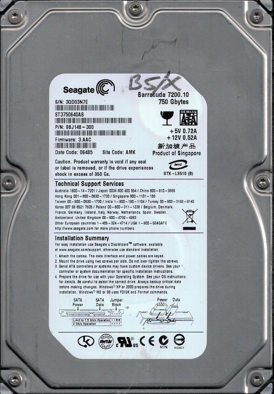 Seagate ST3750640AS P/N: 9BJ148-300 F/W: 3.AAC 750GB AMK 3QD