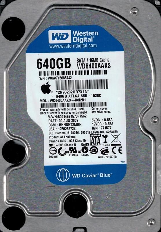 Western Digital WD6400AAKS-40H2B1 640GB DCM: HHNNHT2MHN MAC 655-1528C