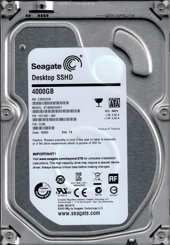 ST4000DX001 P/N: 1CE168-300 F/W: CC45 TK Z30 Seagate 4TB