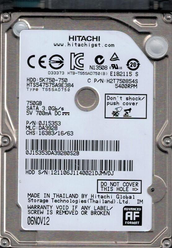 Hitachi HTS547575A9E384 P/N: 0J15353 MLC: DA3928 750GB