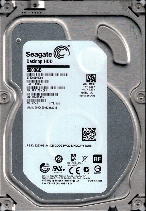 ST5000DM000 P/N: 1FK178-568 F/W: CC48 WU W4J Seagate 5TB Desktop HDD