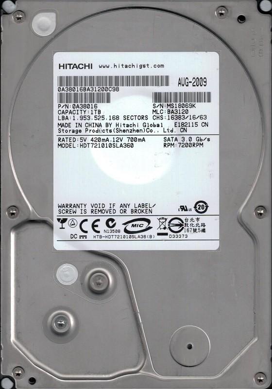 Hitachi HDT721010SLA360 P/N: 0A38016 MLC: BA3120 1TB China